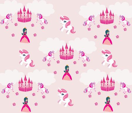 unicorn: Princess , unicorn and castle Background Illustration