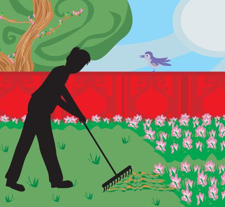 plunder: man gardening in his garden Illustration