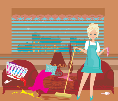 mess: housewife cleans up the mess Illustration