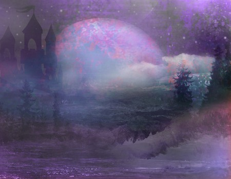 horror castle: abstract landscape with old castle and moon