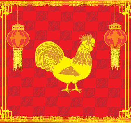 year of rooster: a�o del gallo Vectores