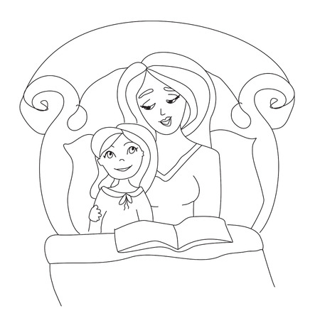 mom reading a book to her kid Vector