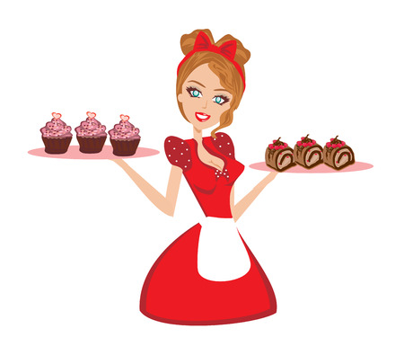stereotypical: Pin Up housewife serving chocolate cupcakes