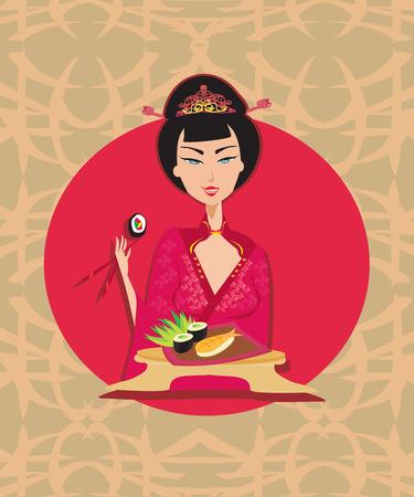 geisha: Abstract card with sushi and geisha Illustration