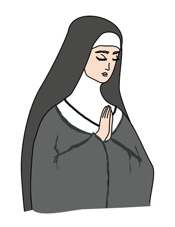 clergy: Vector illustration of nun
