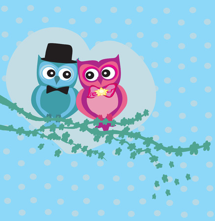 february 14th: Cute owl couple in love Illustration