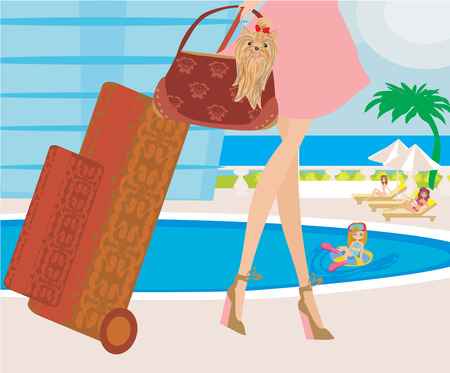 cur: travel girl with baggage Illustration