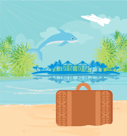 island paradise: Tropical island paradise with leaping dolphin Illustration