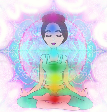 lotus position: Yoga girl in lotus position