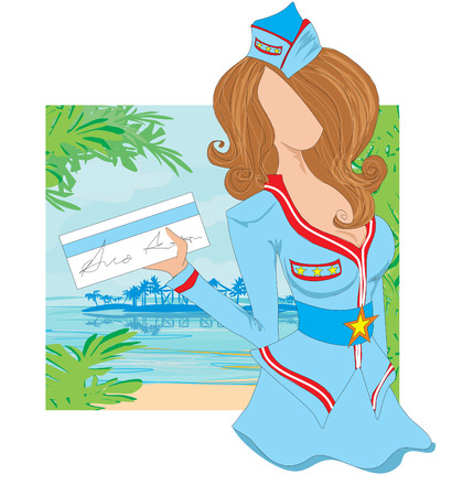 stewardess: stewardess with ticket