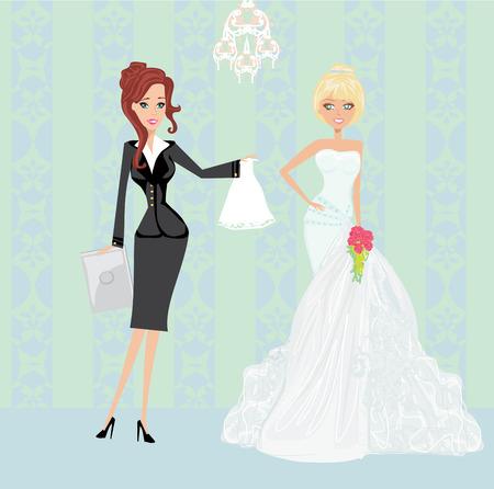 wedding planner and bride Vectores