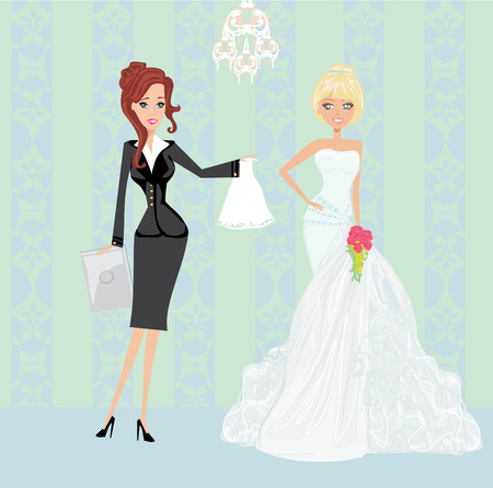 wedding planner and bride Illustration