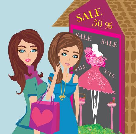 Girls on big shopping sale Illustration