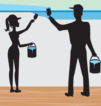 redecorate: silhouettes of two people painting a wall