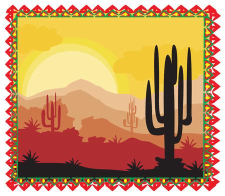 arizona sunset: Desert wild nature landscape with cactus