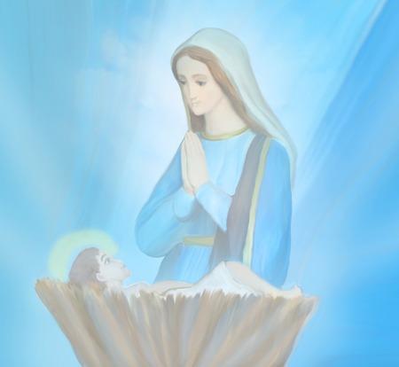 girotondo bambini: Madonna e Gesù bambino Archivio Fotografico