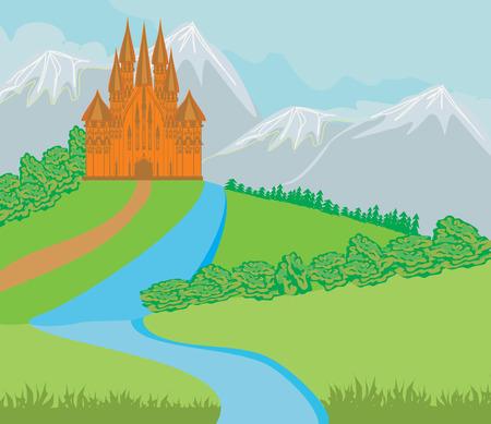 chateau: landscape with old castle Illustration