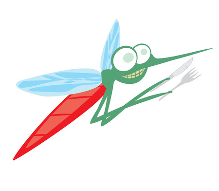 funny cartoon mosquito with fork and knife Illustration