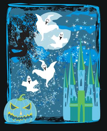 night background: Halloween night background - haunted house