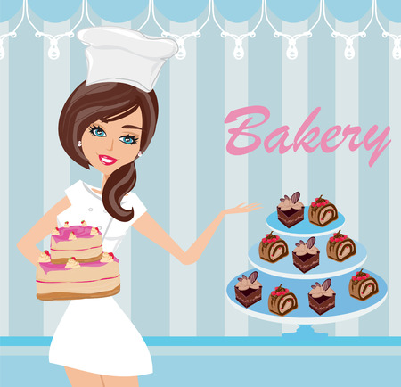 saleswoman: bakery store - saleswoman serving cakes Illustration
