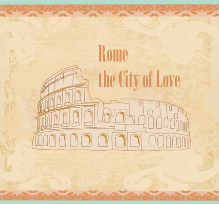 colosseum: Colosseum in Rome -  vintage card Illustration