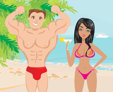 flirt: Young couple flirt in a tropical landscape Illustration