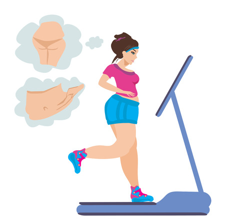 obese girl: obese girl runs on a treadmill