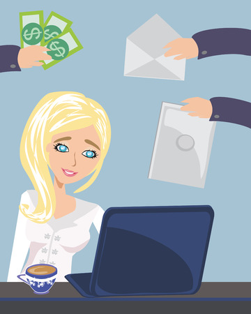 hectic: Busy secretary woman managing her work Illustration