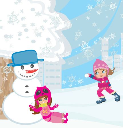 hat new year s eve: Fun in the snow Illustration
