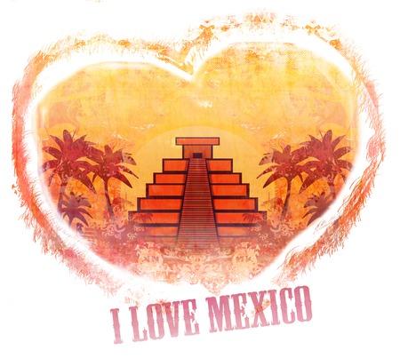 peruvian ethnicity: I Love Mexico design Stock Photo