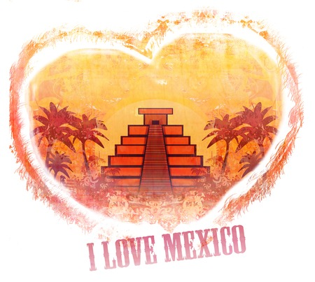 itza: I Love Mexico design Stock Photo