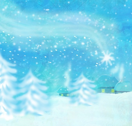 falling star: Beautiful winter landscape, falling star