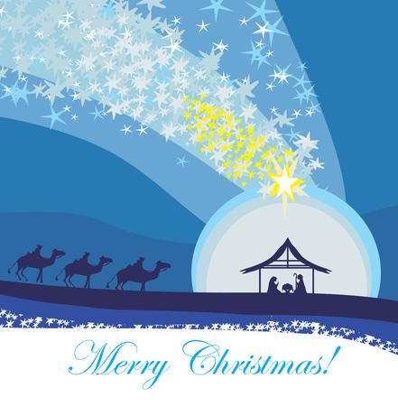 nascita di gesu: Scena biblica - la nascita di Gesù a Betlemme.
