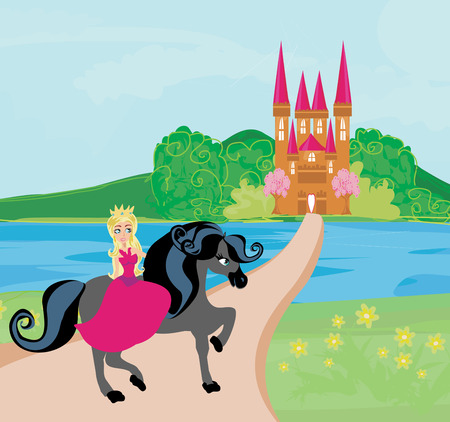 period costume: The Beautiful princess and her cute horse Illustration