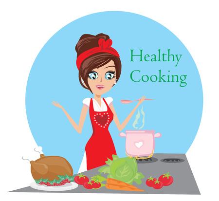 belle dame: Belle soupe de cuisson dame et le poulet servant