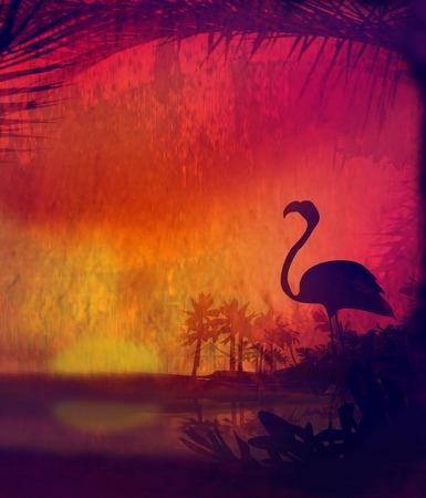 beach sunset: flamingo on Tropical Peaceful Sunset