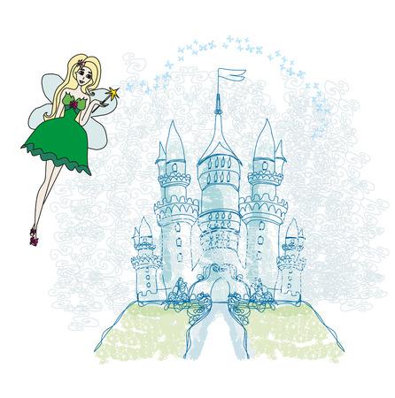 castle door: fairy flying above castle