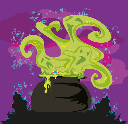to boiling: Cauldron with a boiling magic potion on an abstract background