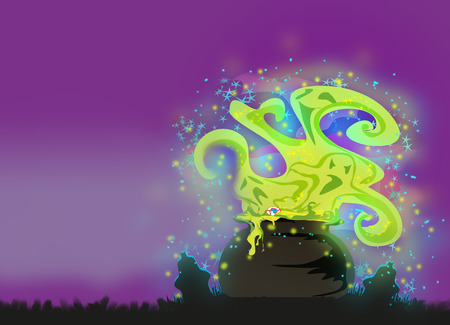 magic potion: Cauldron with a boiling magic potion on an abstract background