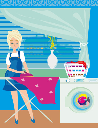 ironing: housewife ironing clothes at home Illustration