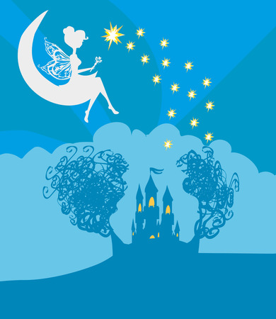 castle silhouette: Magic Fairy Tale Princess Castle