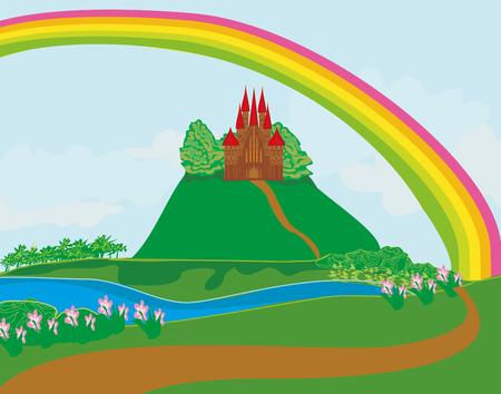 popular tale: landscape with old castle Illustration