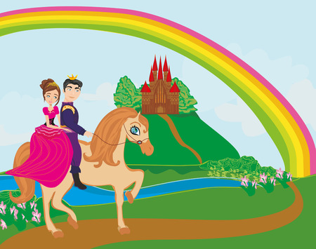 princes: Prince and princes riding on horse Illustration