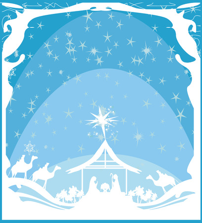abstract Christmas card  - birth of Jesus in Bethlehem.