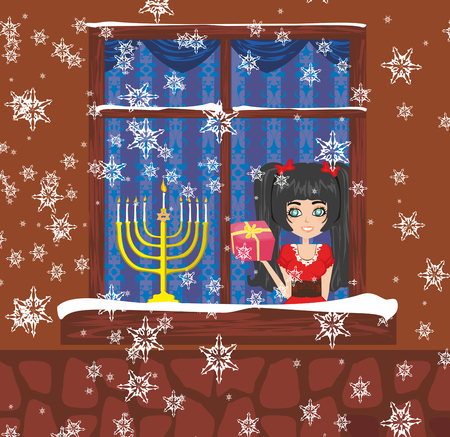 candlestick: candlestick in window - hanukkah Illustration