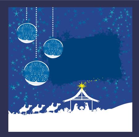 abstracte kerstkaart - de geboorte van Jezus in Bethlehem.