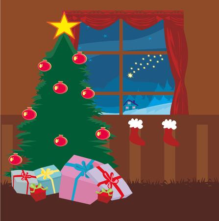 christmas time: living room at Christmas time. Illustration