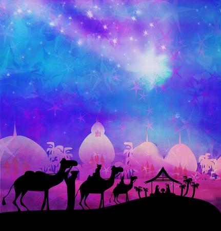 jesus mary joseph: Biblical scene - birth of Jesus in Bethlehem. Stock Photo