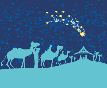 Biblical scene - birth of Jesus in Bethlehem. Illustration