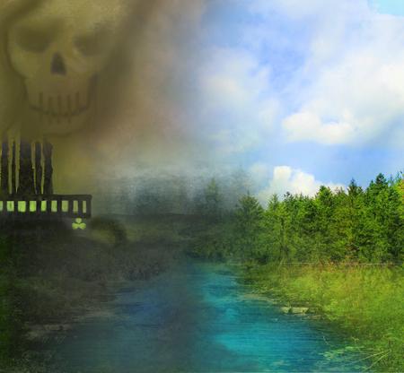 polluting: air polluting factory chimneys